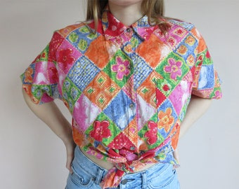 FLORAL Rainbow Print 80s Shirt / Short Sleeve Button Up Shirts Collar Pockets /Holiday Hawaiian Shirt Blouse Size 8-12