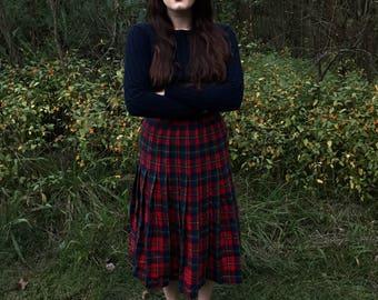 Red & Green Pendleton Boyd Tartan Plaid Wool Skirt
