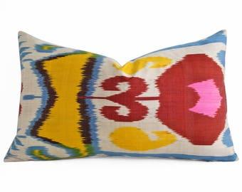 Colorful Ikat Pillow, Hand Woven Silk Ikat Pillow Cover, Ikat Throw Pillows, Pink Ikat Pillow, Designer Pillows, Decorative Pillows