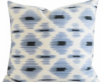 Handwoven Pillow, Designer throw pillow, silk pillow, decorative pillow, ikat pillow, light blue pillow, blue ikat pillow, silver Pillow
