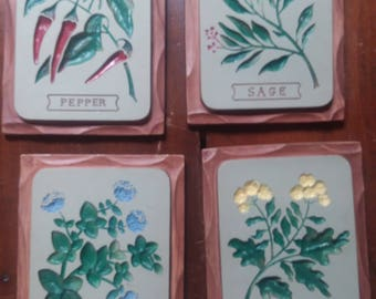 Herb Chalk Plaques wall hanging older super shape, each on is 7x9