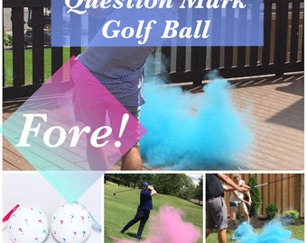 GOLF BALL Question Mark Gender Reveal Gender Reveal Ideas Golf Ball Reveal Gender Reveal Ball Gender Reveal Party Reveal