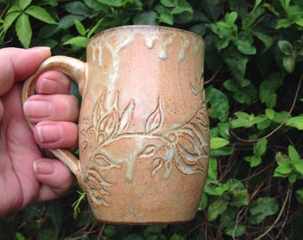 Antique White Hand Carved Ceramic Mug, 11oz.