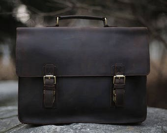 Brown Leather Messenger bag with Strap/ Leather Shoulder Bag/ Leather Briefcase / Leather School Bag/ Leather Mens Bag/ Mens Gift