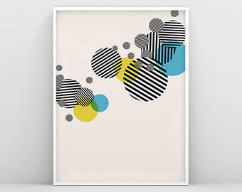 Circle Prints, Scandinavian Wall Art, Striped Circle, Circle Wall Decoration, Geometric Print, Abstract Poster, Minimalist Print, Modern Art