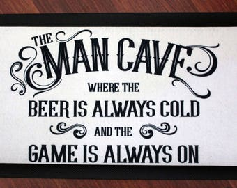 Man Cave Bar Mat/Runner, gifts for him, fathers day gift, gift for men, barware, house warming, man cave, beer, sport, shed, bar runner, mat