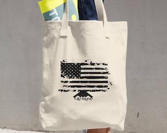KiloBravo® Tote Bag Distressed American Flag Bull Denim Woven Cotton