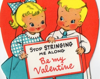 Vintage VALENTINE Card Cute Blonde Boy & Girl MARIONETTE PUPPETS Stop Stringing Me Along Unused Original Greeting w Envelope,Retro Graphics