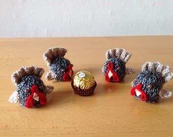 Hand knitted turkey for Easter, Christmas, Thanksgiving or any occasion, to cover a Ferrero Rocher chocolate or similar.