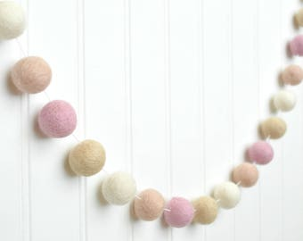 Pink Garland, Nursery Garland, Baby Girl Nursery Decor, Pink Felt Ball Garland, Pom Pom Garland, Baby Shower Decor, Felt Balls Garland, Felt