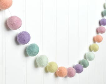 Pastel Rainbow Nursery Garland, Rainbow Birthday Banner, Pastel Rainbow Party, Baby Shower Decor, Felt Ball Garland, Pom Pom Garland, Felt
