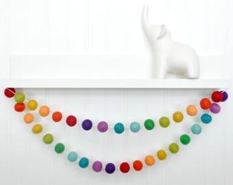Rainbow Garland, Rainbow Birthday Decorations, Birthday Banner, Party Garland, Pom Pom Garland, Felt Ball Garland, Birthday Bunting, Felt