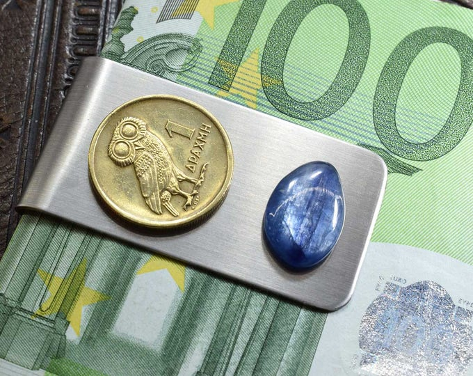 Greece 1 Drachma, Coin Money Clip, Owl Money Clip, Anniversary Gift, Blue Kyanite, Gemstone, Owl Coin Gift, Greece, Greek Coin Money Clip