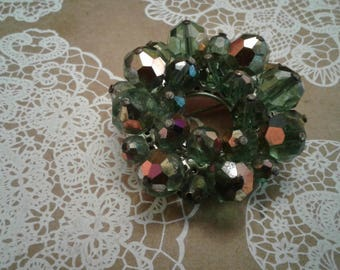 Iridescent Aurora Borealis Green Crystal MidCentury Wreath Circle Brooch