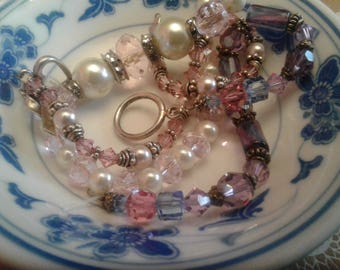 Destash Lot of Three Damaged Quality Crystal and Glass Bracelets with Sterling Silver Elements/Charm  for Reclaiming/Upcycling