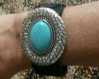 Southwest style leather cuff