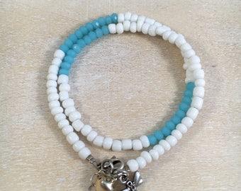 Wrap bracelet dragonfly aqua