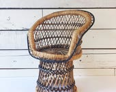 Vintage rattan chair plant stand   bohemian   wicker   stand