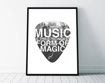 Music Quote Print, Music Typography Graphic, Music Art, Guitar Pick Design Illustration, Inspirational Poster, Music Photography
