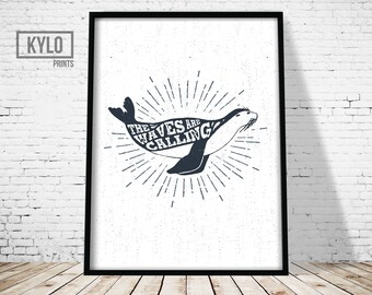 Nautical Quote, Nautical Typography, Nautical Illustration, Nautical Wall Art, Sealion Print, Seal Print, Sealion Wall Art, Nautical Poster