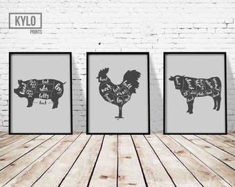 "Meat Diagram Print Set 3 of 11x14"", Butcher Print, Butcher Diagram, Kitchen Print, Kitchen Decor, Meat Print, Animal Diagram, Food Diagram"