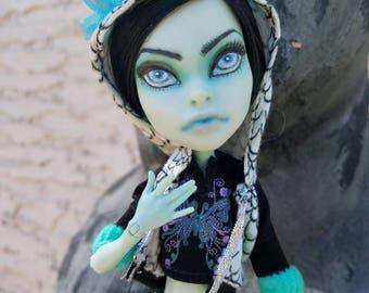 OOAK Sarah Screams Monster High Repaint with Upcycled Snake Hoodie and Handmade Kneehigh Socks