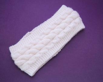 Ear Warmer | One Size Cabled Ear Warmer, Ear Warmer Knit Headband, Knit Headband, Knit Ear Warmer, White Knit Headband, White Ear Warmer