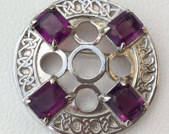 C.J. Scotland Silver Metal Celtic Brooch with Amethyst Coloured Stones.
