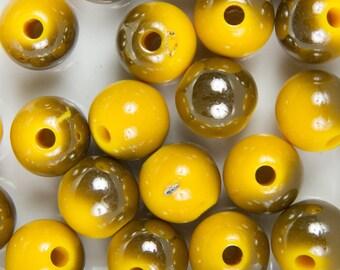 10 pearls 10mm yellow plating UV acrylic