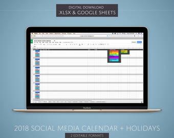 DIGITAL 2018 Social Media Content Calendar - Marketing Calendar Spreadsheet - Social Media Marketing Planner - Digital Marketing Agenda