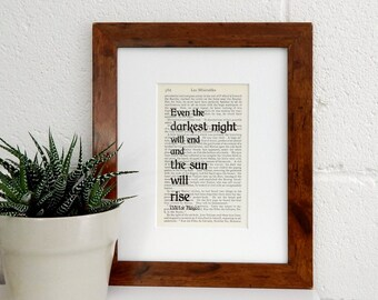 Victor Hugo Vintage Book Quote Print - Les Miserables Book Print - Literary Gift - Classic French Literature Print - Inspirational Gift