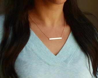 Personalized Bar Necklace | Gold Bar Necklace | Personalized Gold Bar Necklace | Engraved Gold Bar Necklace | Simple Gold Necklace, Name Bar