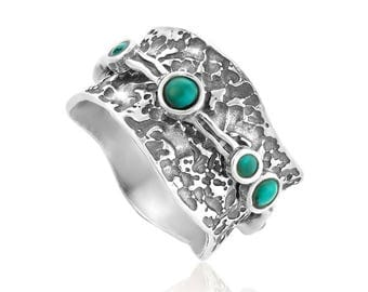 Silver Spinning Ring with Turquoise