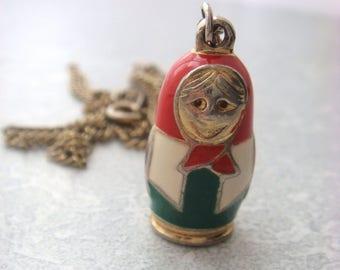 Babushka Matryoshka Russian Doll Pendant