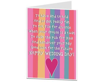 Wedding Card. Funny Wedding Poem Card. Congratulations Just Married On Your Wedding Day. Congrats Bride & Groom Card