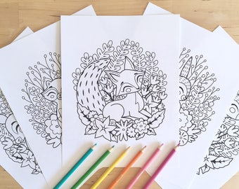 5 Printable Coloring Pages   Woodland Animal Colouring Pages, Instant  Digital Download, PDF Colouring