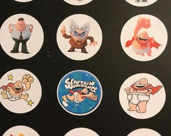 Precut Edible Captain Underpants Characters to decorate your cupcakes, cookies or cake with.