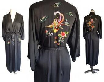 Vintage Satin Embroidered Robe • Long Black Rayon Dragon Robe • Size L