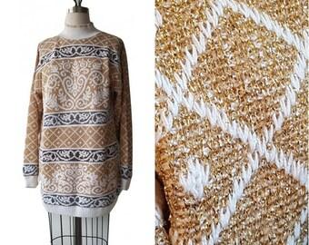80s Metallic LUREX Sweater Dress • Ugly Christmas Sweater • Size M