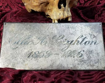 casket plate, funeral, used casket plate, mortuary