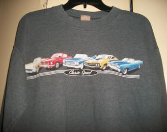 90s Gray Sweatshirt with Vintage Cars Size Adult Small