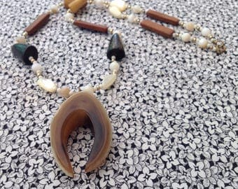 Vintage Necklace with Horn, Bone, Shell and Wood