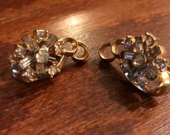Vintage Retro Gold Toned Screw Back Earrings, Rhinestones