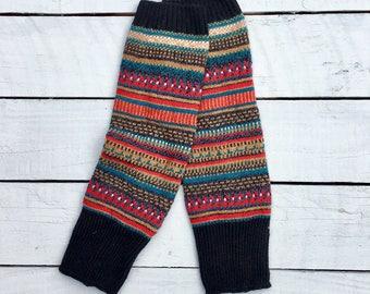 Fair Isle Crochet Knit Leg Warmers (Gypsy Blue)