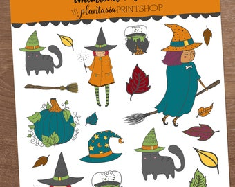 Whimsical Witches, Halloween Stickers, Planner Stickers, for use with Erin Condren, Happy Planner, Magic, Warlock, Fantasia, Merlin, Wizard