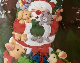 "Vintage NEW Bucilla Christmas Hugs Christmas stocking kit 18"" sealed and so cute! # 84589  from 2001"