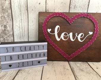 Heart string art, hand made, valentines, personalised.