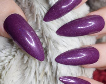 Purple Holographic Fake Nails, Extra Long Stiletto False Nails, Hand Painted Press On Glue On Nails, Extra Long Nails, Nail Designs, 20 Nail