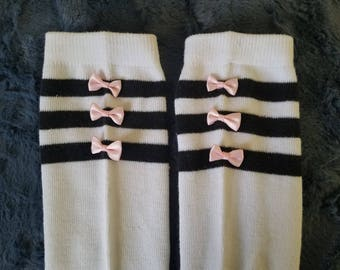 Over the knee black and white striped bow socks