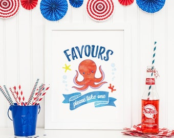Nautical party favours sign, Octopus Party sign, PRINTABLE Nautical party decorations, Nautical decorations, Under the sea party decorations